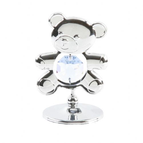 Swarovski Crystal Teddy Bear Cake Decoration and Keepsake - Chrome Plated With Pale Blue Crystal Baby Keepsake